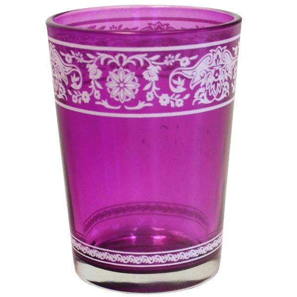 Painted Glass Candle Holder Purple Aliz 3in