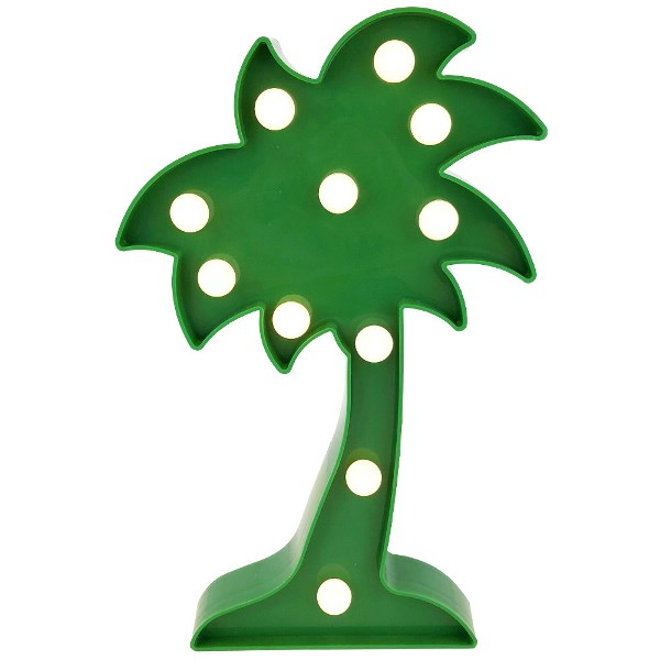 Palm Tree Green 10in Marquee LED Battery Operated Light