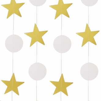 Paper Circle Star Garland Gold and White 8ft