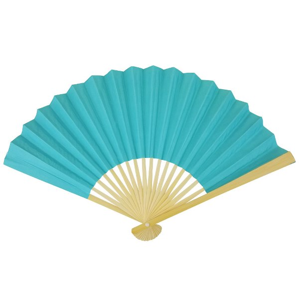 Paper Hand fan Pool Blue