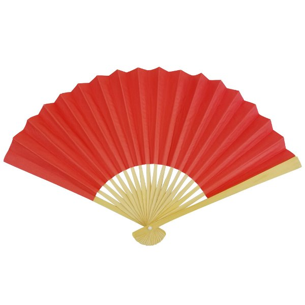 Paper Hand fan Poppy Red
