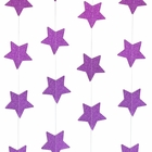 Paper Star Garland Glitter Purple