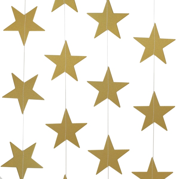 Paper Star Garland Gold 8ft