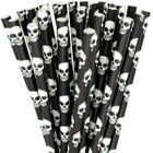 Paper Straws 25pcs Black Scary Skulls