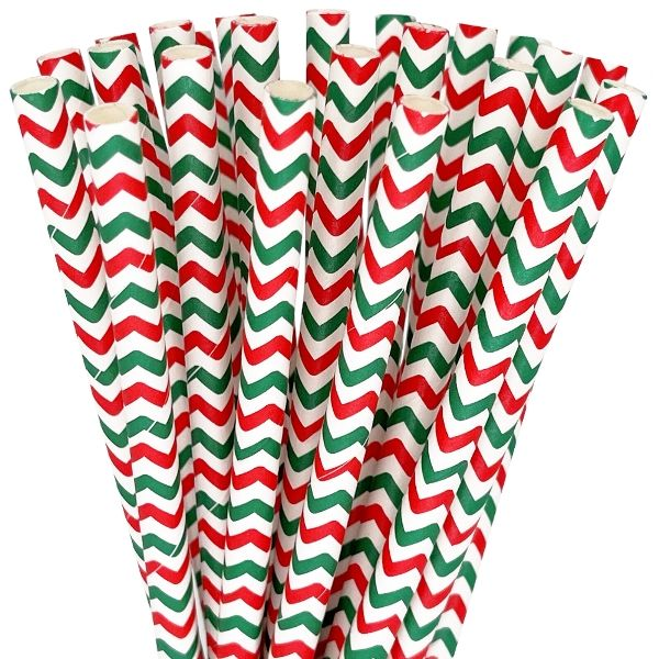 Paper Straws 25pcs Chevron Red and Green