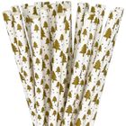 Paper Straws 25pcs Gold Christmas Trees