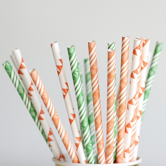 Paper Straws 25pcs Green Eat Drink Be Merry