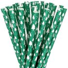 Paper Straws 25pcs Green with White Christmas Trees