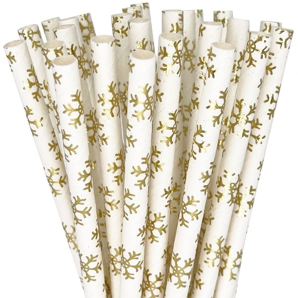 Paper Straws 25pcs Metallic Gold Snowflake