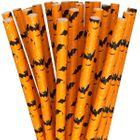 Paper Straws 25pcs Orange and Black Bats