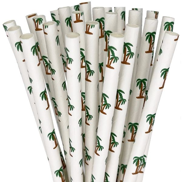 Paper Straws 25pcs Palm Tree Paradise