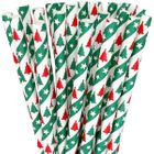 Paper Straws 25pcs Red and Green Christmas Trees