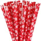Paper Straws 25pcs Red Winter Snowflake