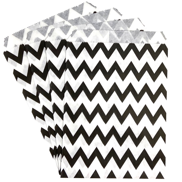 Paper Treat Bags 24pcs Medium Chevron Black