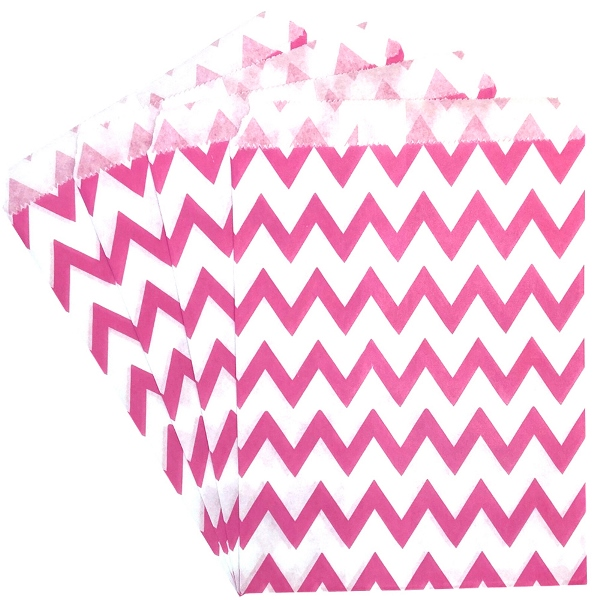 Paper Treat Bags 24pcs Medium Chevron Bubblegum Pink