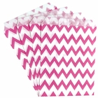 Paper Treat Bags 24pcs Medium Chevron Fuchsia