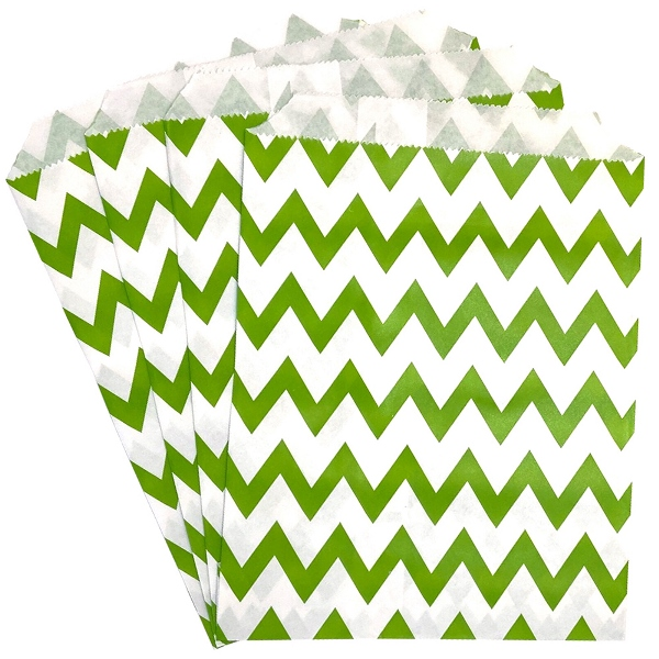 Paper Treat Bags 24pcs Medium Chevron Green Apple