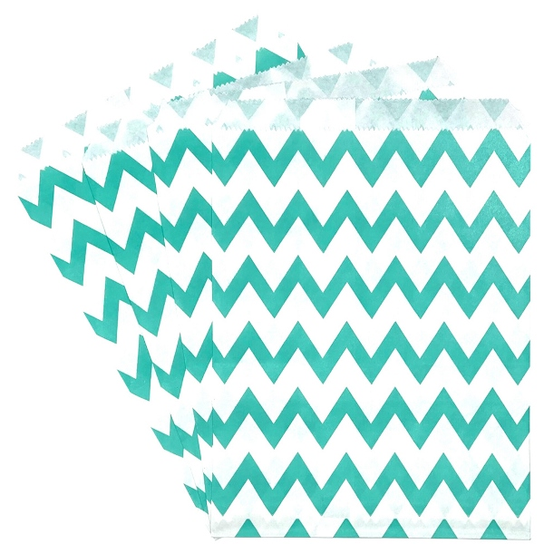 Paper Treat Bags 24pcs Medium Chevron Jade Green