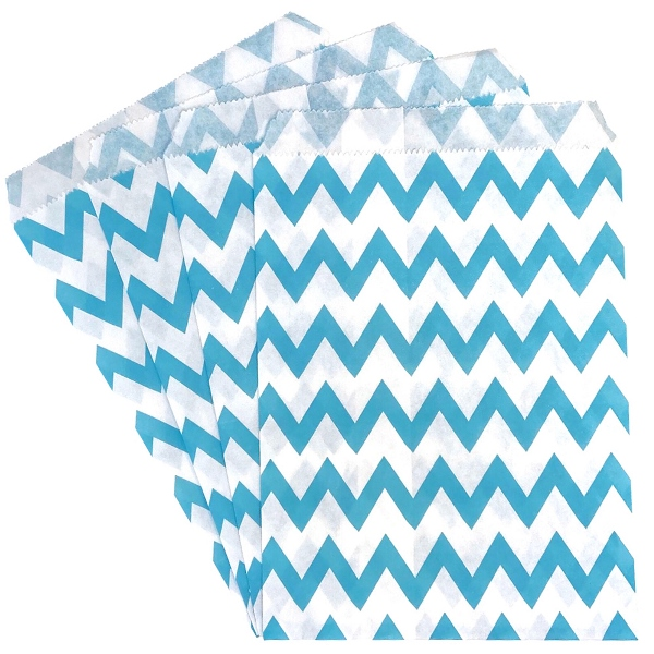 Paper Treat Bags 24pcs Medium Chevron Light Blue