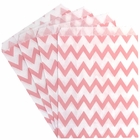 Paper Treat Bags 24pcs Medium Chevron Light Pink