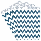 Paper Treat Bags 24pcs Medium Chevron Navy