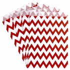 Paper Treat Bags 24pcs Medium Chevron Red