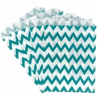 Paper Treat Bags 24pcs Medium Chevron Turquoise