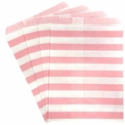 Paper Treat Bags 24pcs Medium Horizontal Stripe Light Pink