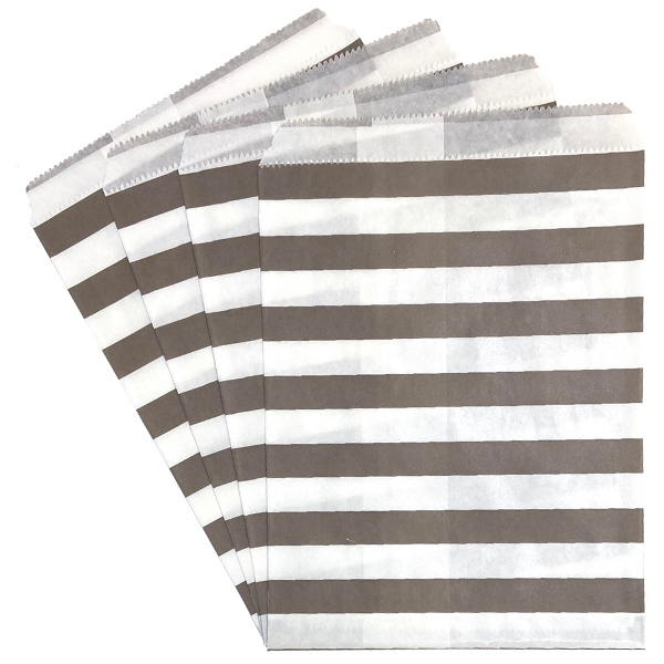 Paper Treat Bags 24pcs Medium Horizontal Striped Grey