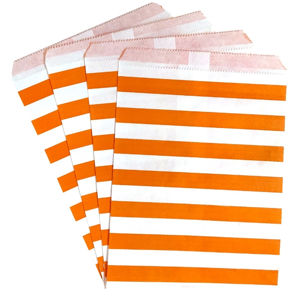 Paper Treat Bags 24pcs Medium Horizontal Striped Orange