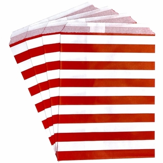 Paper Treat Bags 24pcs Medium Horizontal Striped Red