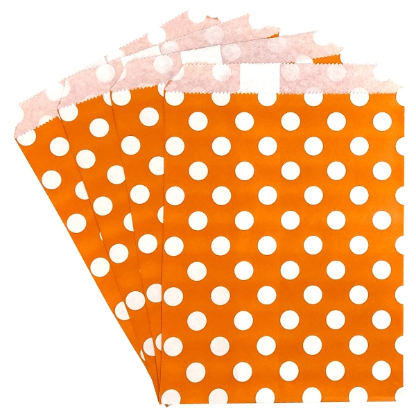 Paper Treat Bags 24pcs Medium Polka Dot Orange