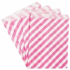 Paper Treat Bags 24pcs Medium Diagonal Striped Bubblegum Pink