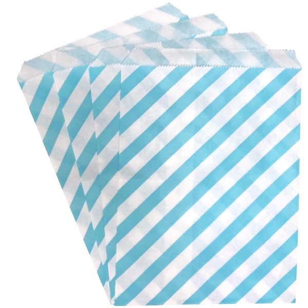 Paper Treat Bags 24pcs Medium Diagonal Striped Light Blue