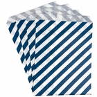 Paper Treat Bags 24pcs Medium Diagonal Striped Navy