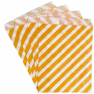 Paper Treat Bags 24pcs Medium Diagonal Striped Orange