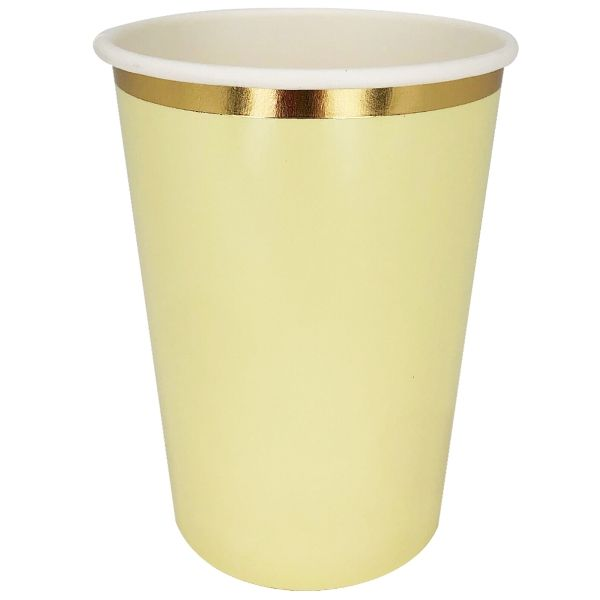 Party Paper Cup 8pcs Banana Yellow Gold Foil Trim