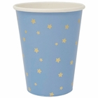 Party Paper Cup 8pcs Blue with Foil Gold Stars