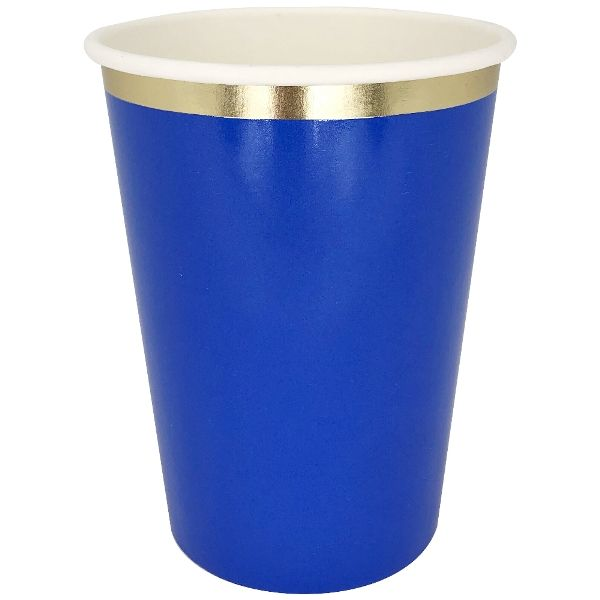 Party Paper Cup 8pcs Cobalt Blue Gold Foil Trim