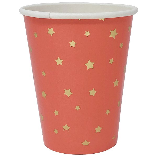 Party Paper Cup 8pcs Coral with Foil Gold Stars