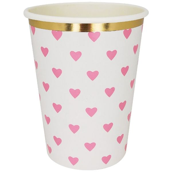 Party Paper Cup 8pcs Hot Pink Hearts Gold foil Trim
