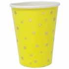 Party Paper Cup 8pcs Lemon Yellow Foil Gold Stars