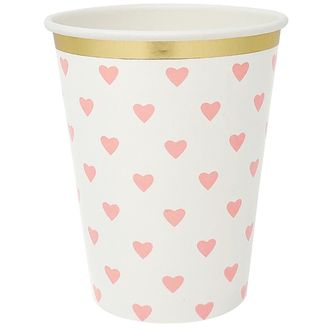 Party Paper Cup 8pcs Light Pink Hearts Gold Foil Trim