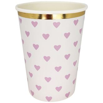 Party Paper Cup 8pcs Light Purple Hearts Gold Foil Trim