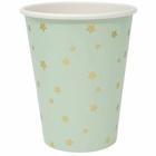 Party Paper Cup 8pcs Mint with Foil Gold Stars