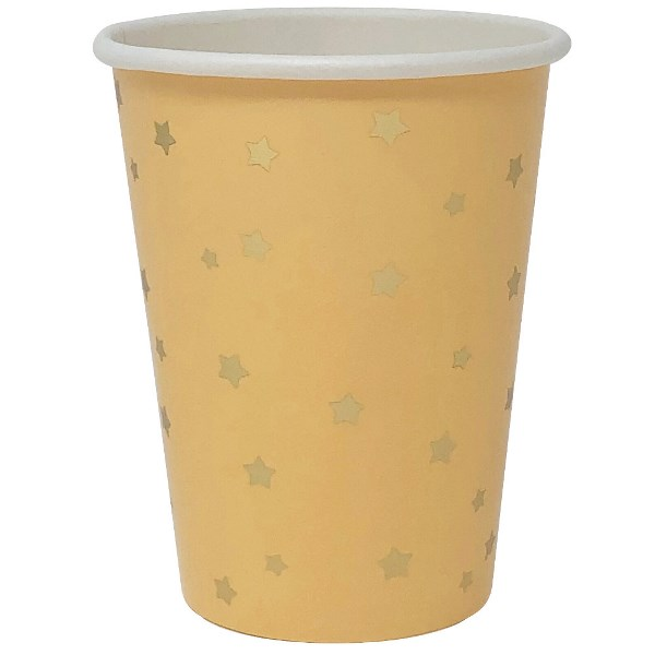 Party Paper Cup 8pcs Peach with Foil Gold Stars