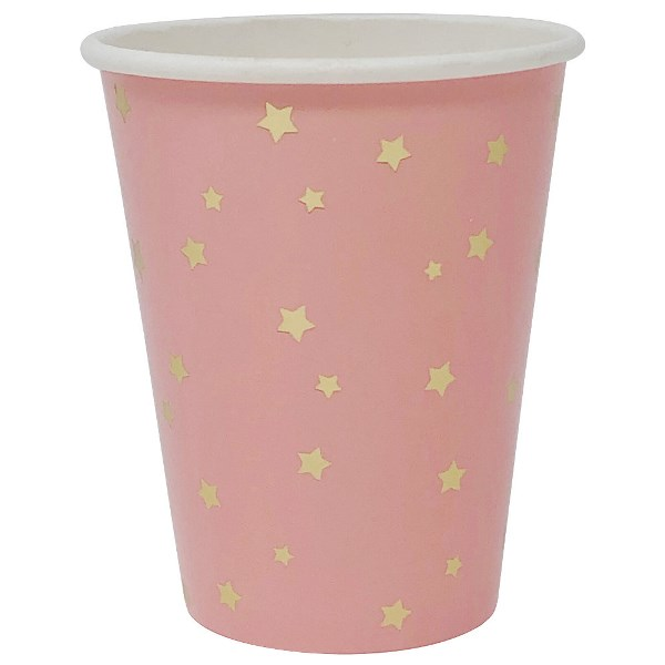 Party Paper Cup 8pcs Pink with Foil Gold Stars