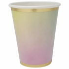 Party Paper Cup 8pcs Rainbow Ombre Gold Foil Trim