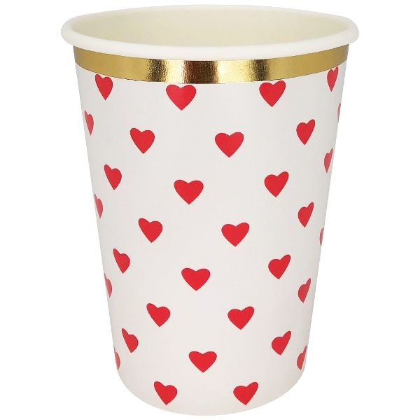 Party Paper Cup 8pcs Red Hearts Gold Foil Trim