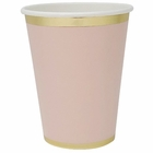 Party Paper Cup 8pcs Solid Light Pink Gold Foil Trim